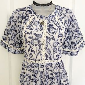 ASOS Sheer Blue/White Print Empire Waist Dress 6